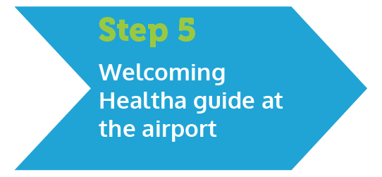 Description of step 5 : Healtha interpreter guide welcomes you at the airport<br> You will transfer to a medical center or hotel